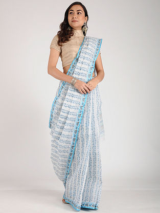 Ivory-Turquoise Block-printed Cotton Saree