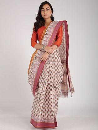Ivory-Pink Block-printed Cotton Saree