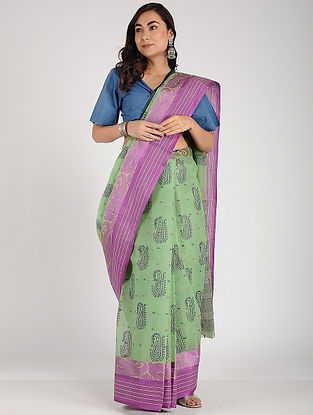 Green-Purple Block-printed Cotton Saree