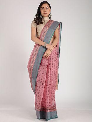 Pink-Green Block-printed Cotton Saree