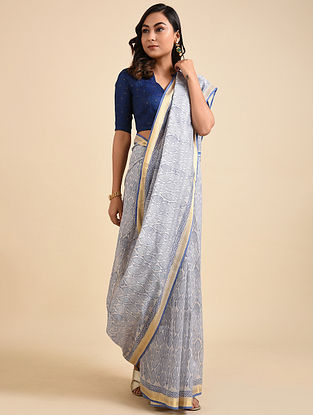 Ivory-Blue Block Printed Maheshwari Cotton Saree with Zari