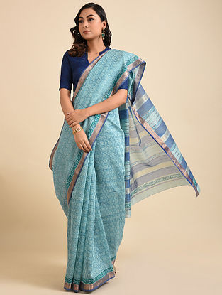 Blue Block Printed Maheshwari Cotton Saree with Zari