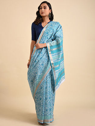 Blue-Ivory Block Printed Maheshwari Cotton Saree with Zari