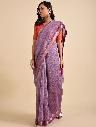 Grey-Pink Block Printed Maheshwari Cotton Saree with Zari
