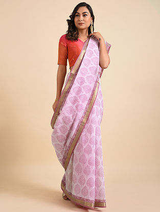 Pink Block Printed Maheshwari Cotton Saree with Zari