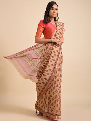 Beige-Pink Block Printed Maheshwari Cotton Saree with Zari
