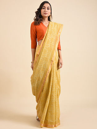 Yellow Block Printed Maheshwari Cotton Saree with Zari