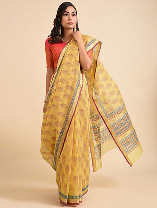 Yellow-Red Block Printed Maheshwari Cotton Saree with Zari
