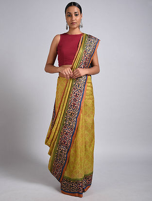 Yellow Block Printed Tussar Silk Saree