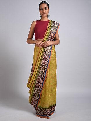 Yellow Block Printed Tussar Silk Saree