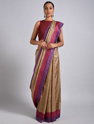 Beige-Purple Block Printed Tussar Silk Saree