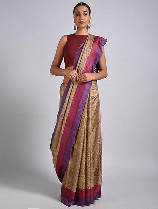 Beige-Purple Block Printed Tussar Silk Saree