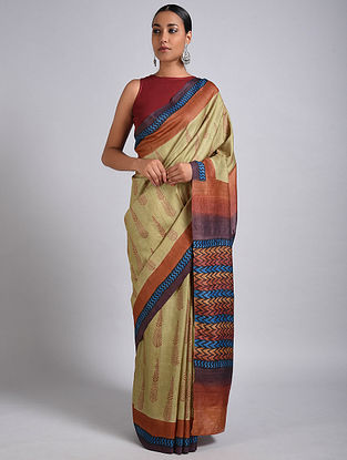 Beige-Red Block Printed Tussar Silk Saree