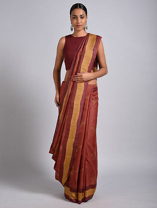 Red Block Printed Tussar Silk Saree