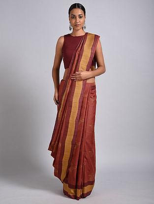 Red Block Printed Tussar Silk Saree