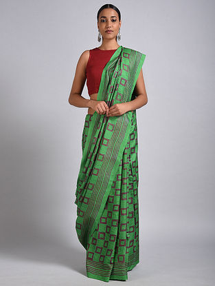 Green Block Printed Tussar Silk Saree