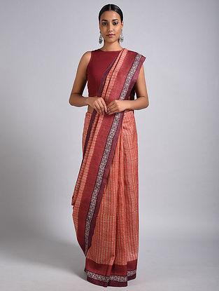 Red-Ivory Block Printed Tussar Silk Saree