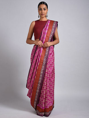 Pink-Brown Block Printed Tussar Silk Saree