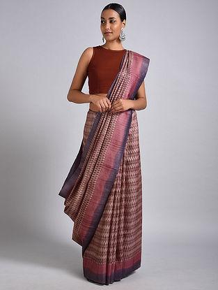 Beige-Pink Block Printed Tussar Silk Saree