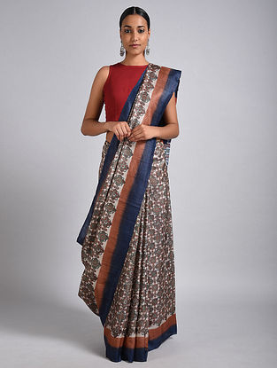 Ivory-Blue Block Printed Tussar Silk Saree