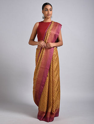 Yellow-Pink Block Printed Tussar Silk Saree