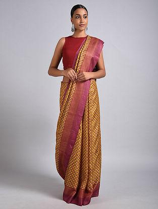 Yellow-Pink Block Printed Tussar Silk Saree