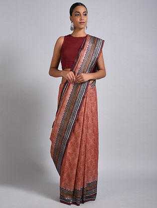 Peach-Black Block Printed Tussar Silk Saree