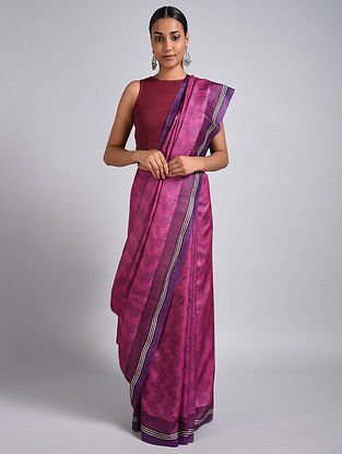 Pink-Purple Block Printed Tussar Silk Saree