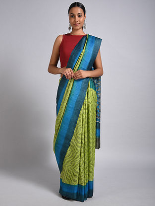 Green-Blue Block Printed Tussar Silk Saree