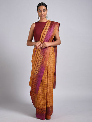 Yellow-Purple Block Printed Tussar Silk Saree