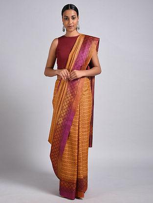Yellow-Purple Block Printed Tussar Silk Saree