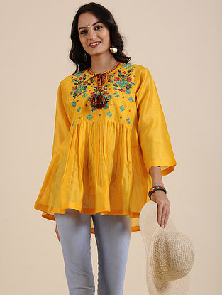 Chrome Yellow Hand Embroidered Silk Chanderi Tunic with Mirror Work