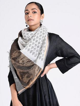 Ivory-Black Block-printed Maheshwari Stole with Zari