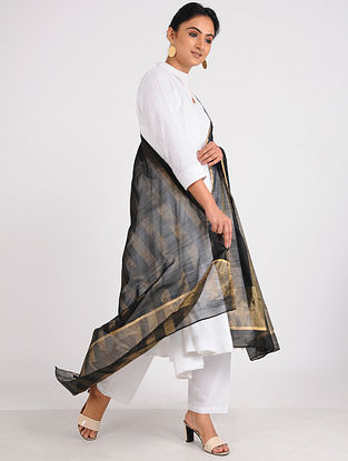 Black Chanderi Dupatta with Zari
