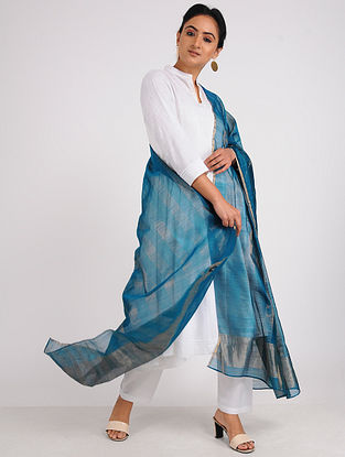Blue Chanderi Dupatta with Zari
