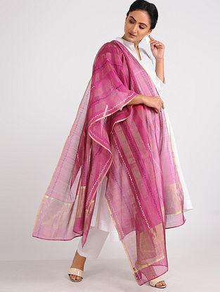 Pink Block-printed Chanderi Dupatta with Zari
