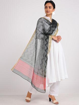 Black-Pink Block-printed Chanderi Dupatta with Zari