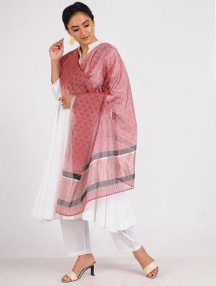 Pink-Black Block-printed Chanderi Dupatta with Zari