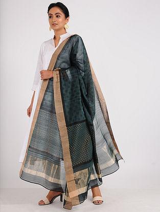 Blue-Black Block-printed Chanderi Dupatta with Zari