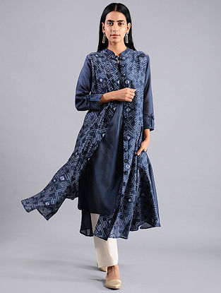 Indigo Shibori Chanderi Jacket with Slip (Set of 2)