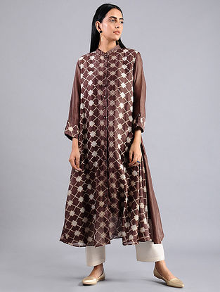 Brown Shibori Chanderi Jacket with Slip (Set of 2)