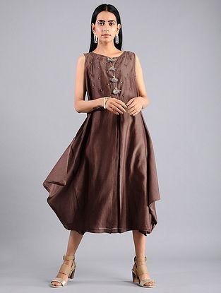 Brown Shibori Chanderi Dress with Slip (Set of 2)
