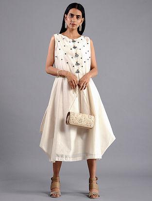 Ivory Shibori Chanderi Dress with Slip (Set of 2)