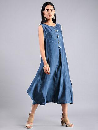 Indigo Shibori Chanderi Dress with Slip (Set of 2)