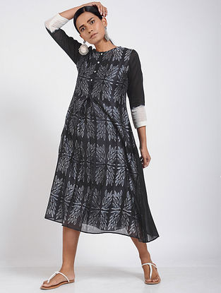 Black Shibori Chanderi Dress with Slip (Set of 2)