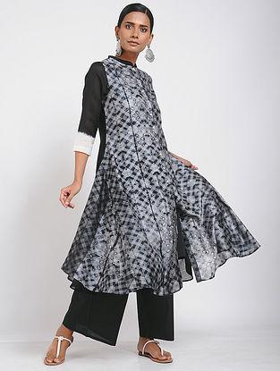 Black Shibori Chanderi Tunic with Slip (Set of 2)