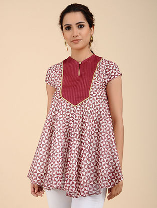 Red Block Printed Chanderi Top with Zari and Mul Lining