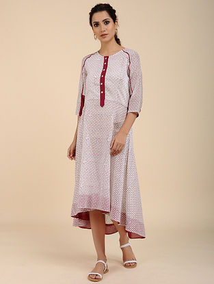 Ivory Red Block Printed Chanderi Dress with Raglan Sleeves