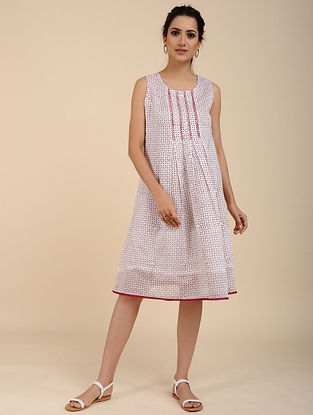 Ivory Red Block Printed Chanderi Dress with Hand Embroidery