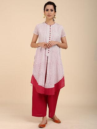 Ivory Red Block Printed Chanderi Kurta with Mul Lining